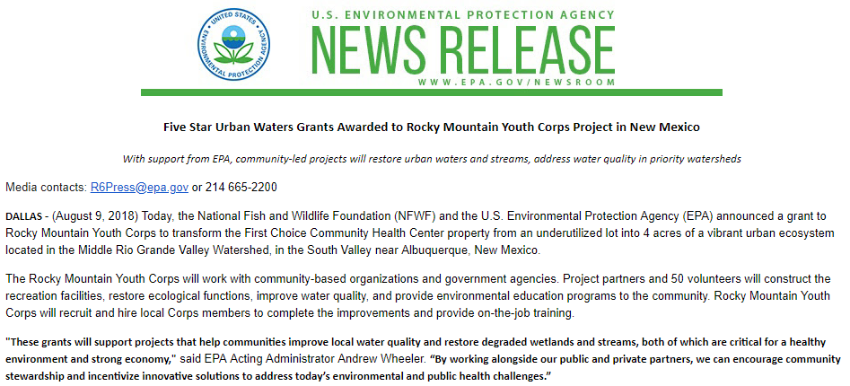 Five Star Urban Waters Grants Awarded to Rocky Mountain Youth Corps Project in New Mexico